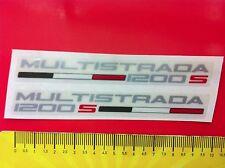 2 Adesivi DUCATI Multistrada1200 S con bandierina italia argento