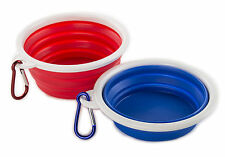Travel Collapsible Dog Bowl (2 pack) Foldable Expandable Cup Dish Pet Food Water
