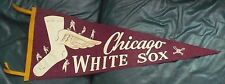 """VINTAGE 1950'S CHICAGO WHITE SOX PENNANT 11"""" x 28"""" WINGED SOCK 6 PLAYERS"""