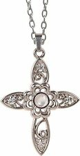 "The Lord's Prayer FLORAL CROSS Magnifier Pendant 20"" Chain, by AngelStar, 13853"