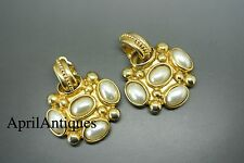 Vintage 50s french byzantine cross large couture gold-tone pearl glass earrings