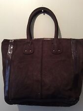 GAP real suede and patent brown tote shopper style handbag