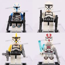 4pcs Star Wars Captain Rex Clone Trooper Clone Commander Fits Lego Mini Figures