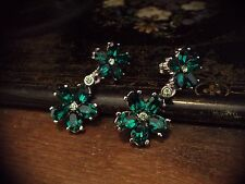 Butler & Wilson Vintage Emerald Green & Peridot Crystal Flower Drop  Earrings