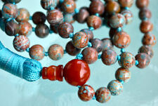 Rare Fossil beads & Red Agate Hand Knotted Mala Beads Necklace - Karma Nirvana M