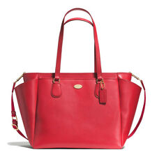 NWT Coach Red Crossgrain Leather Baby Diaper Bag Tote - 35702  ($495)