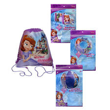 DISNEY PRINCESS SOFIA Sling Bag Backpack + Swim Ring + Arm Floats + Beach Ball