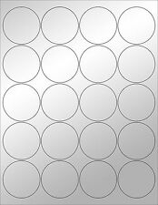 "6 SHEETS 2"" ROUND BLANK SILVER STICKERS~LASER ONLY~ LABELS ~ WEDDINGS, PACKAGING"