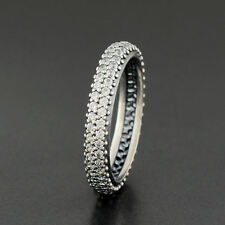 GENUINE AUTHENTIC PANDORA SILVER SPARKLING ZIRCONIA CURVE RING 190909CZ SIZE 54