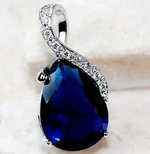 5CT Blue Sapphire & White Topaz 925 Solid Genuine Sterling Silver Pendant