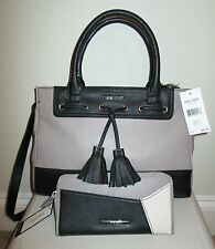 Nine West Satchel Handbag Wallet Set NWT Black Taupe White XMAS Gift Set $125