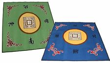 "31"" Slip Slide Resistant Mahjong Domino Card Gaming Table Cover Green+Blue Mats"