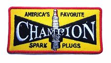 Hot Rod Patch Champion Spark Plugs Badge Drag Race Speed Shop Iron On