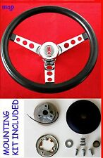 1969-1993 Oldsmobile Cutlass F85 98 442 Steering Wheel Black and Chrome 14 1/2""