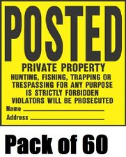 """(60) HY-KO YP-1 11"""" x 11"""" POSTED PRIVATE PROPERTY NO HUNTING TRESPASSING SIGNS"""