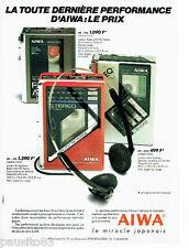 PUBLICITE ADVERTISING 056  1987  les baladeurs Aiwa radio-fm