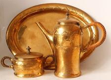 Antique German Polished Brass Jugendstil Art Deco Coffee Set by WMF c.1920s