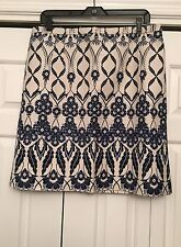 J. Crew 12 Trellis Skirt Cotton Blue White NEW