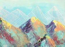 Mountain Landscape - Original Painting - Colorful Geometric Nature Southwest Art