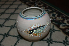 Superb Asian Chinese Japanese Pottery Vase Bowl W/Fish Patterns-Marked-Symbols