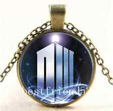 Vintage Doctor Dr who tardis Cabochon Glass Bronze Chain Pendant Necklace