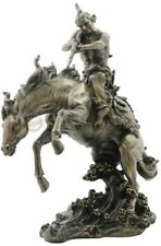 Indian W/ Rifle On Horse Jumping In Water Statue Sculpture Figure