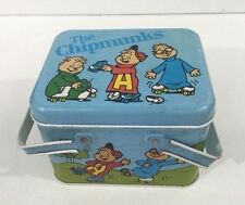 Vintage Cheinco Alvin and The Chipmunks Litho Storage Tin Lunch Tote - Very Rare