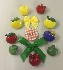 Dress It Up Buttons - Apples and Bows 3 - Sewing/Scrap Booking/Card Making