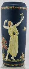 """WELLER BLUE WARE 11"""" VASE W/A LADY PLAYING A LYRE & ONE DANCING GARDEN SCENE"""