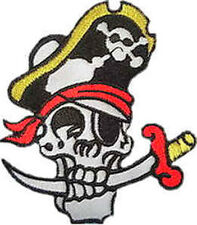 Iron On/ Sew On Embroidered Patch Badge Skull Crossed Bones Novlty Sword Pirate