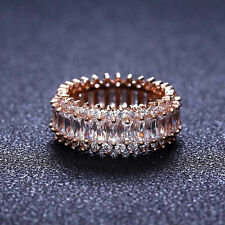 18k Rose Gold Channel Set Baguette Swarovski Eternity Ring Anniversary Band 3 ct