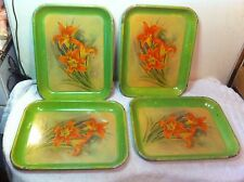 Vintage Metal tv tray set of 4 with day lillys