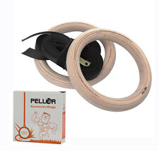 Pellor Wooden Olympic Gymnastic Rings Gym fitness Training Exercise Straps Pro