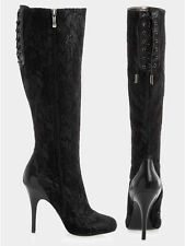 GUESS MARCIANO Lucia Black Lace over Leather Tall Boots 8.5 NEW in BOX