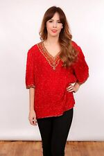 Plus size vintage red & gold sequin beaded top by Laurence Kazar ethnic design