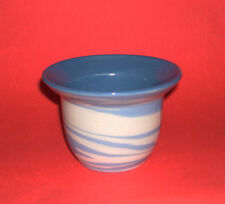Lindy Wright Studio Pottery - Attractive Flared Top Bowl In Blue & Cream Swirl.