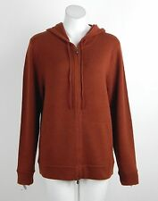 New Magaschoni 100% Cashmere Hoodie Sweater Zip Front Henna Orange X-Large NWT