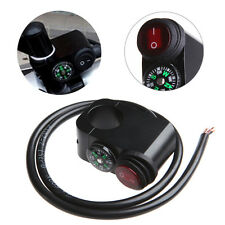 Waterproof 12V 7/8″ Motorcycle Handlebar Turn Signal Light ON-OFF Switch Compass