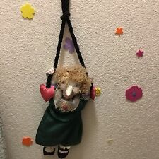 Primitive art OOAK fabric wall hanger curly blonde hair witch doll w/ long noise