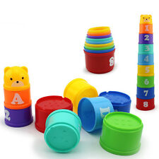 9 in1 Baby Children Kids Educational Toy Figures Letters Folding Cup Tower Stack