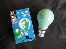 10x GE GREEN  25W Coloured B22 BC Bayonet Lamp Light Bulb 240V Old Style JOB LOT