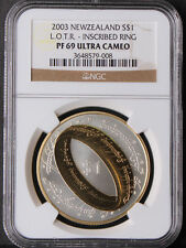 Newzealand 2003 LOTR Lord Of The Ring Gilt Silver Coin NGC PF69