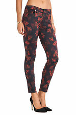 7 FOR ALL MANKIND JEANS New Women's sz 24 Rose Print Floral Skinny Jeans Pants
