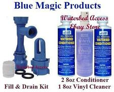 2 8oz BLUE MAGIC All Purpose Waterbed Conditioners, Cleaner and Fill & Drain Kit