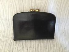 Vintage black Leather Mini Wallet/Coin Purse w Snap Closure from Germany