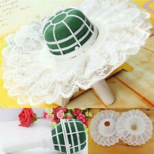 DIY Foam Bouquet Handle Bridal Wedding Flower Holder Decoration With Lace Trim F