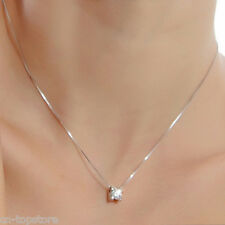 Fashion Jewelry Womens Silver Plated Crystal Necklace Pendant White CZ DZ826