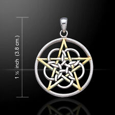 Pentagram Pentacle Silver and Gold Pendant by Peter Stone