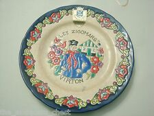 "Emaux d' Longwy  Virton Les Zigomars collector plate, France. 7"", rare!![DL30]"