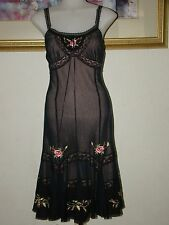 Betsey Johnson Black Silk Embroidered Flower Dress Size 4 NWOT